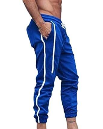 MogogoMen Slim-Tapered Stripe Waistband Stretchy Original Fit Jogger Pants Blue L