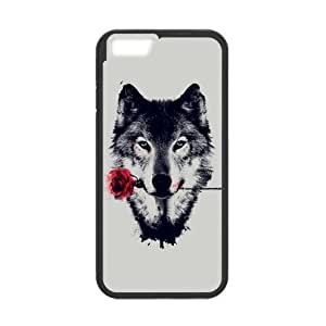 Charming Wolf with Rose Plastic and TPU Case Cover for iPhone 6 - 4.7 Inch (Laser Technology)
