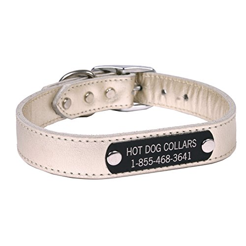 Hot Dog Collars Personalized Leather Dog Collar with Engraved Nameplate, Metallic Platinum Leather, Large