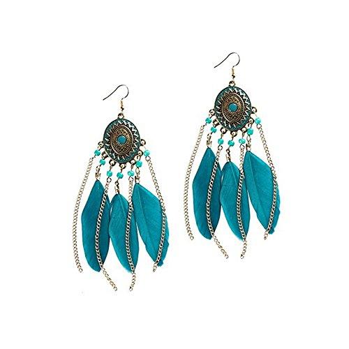 Feather Earrings Blue Dangle Beaded Earrings Vintage Bohemian Earrings for Women ()