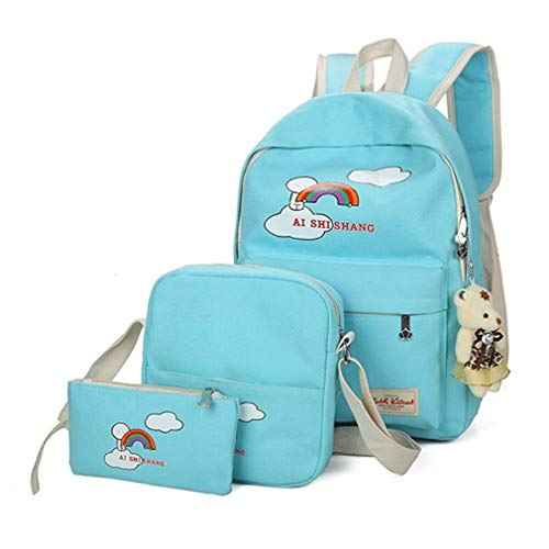 Pink L29cm W12cm Cartoon Blue Lake Sets Girls School Backpack Bear Rose Backpacks Printing 3Pcs H38cm zwpqvq