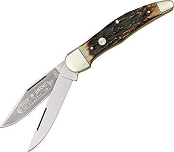 Boker 112020HH Folding Hunter Stag Pocket Knife with 3-1 2 In. Straight Edge Blade