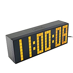 Yosoo Large Big 4 6 Digit Jumbo LED Digital Alarm Calendar Snooze Wall Desk Clock (yellow, 6-digit version)
