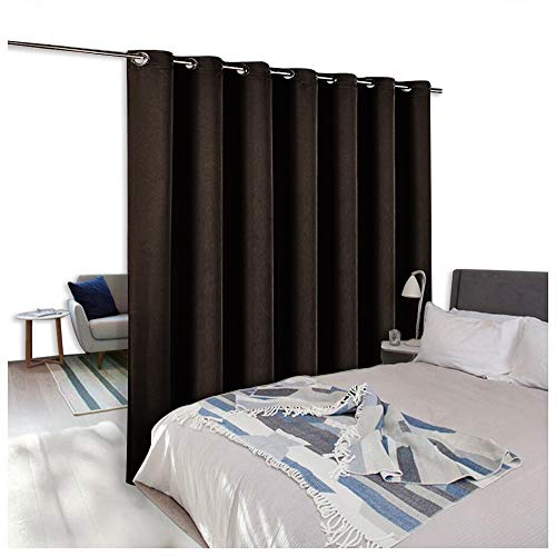 NICETOWN Room Dividers Curtain Screen Partitions, Patio Sliding Door Curtain, Wide Blackout Curtains, Keep Warm Draperies, Sliding Glass Door Drapes (One Piece, 8.3ft Width x 7ft Length, Toffee Brown)