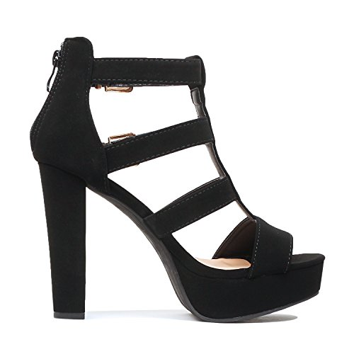 Gladiator Platform Guilty Cutout Blackv6 Fashion Pu Shoes Sandals High Strap Ankle Heel E7q17H