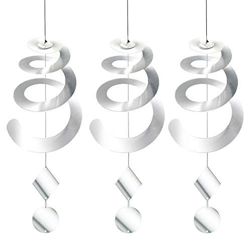 Chephon Bird Repellent Spiral Reflectors with Reflective Scare Discs - Decorative Bird Deterrent Device to Scare Birds Away Like Woodpeckers, Pigeons, Geese and Ducks - 3 Pack with Free Hooks ()