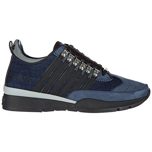 Dsquared2 men's shoes leather trainers sneakers 251 blu pick a best od33z4Zz