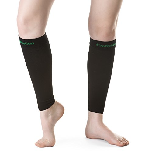 Knee Warmers Evo (EvoMotion USA Made Men and Women 20-30 mmHg Firm Graduated Compression Calf Sleeves - Medical Grade Athletic Support Circulation & Recovery - Best for Sports Running Travel, 1 Pair (XL, Black))