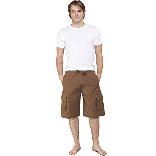 Men's Eco Hemp Cotton Cargo Shorts-Brown-Medium
