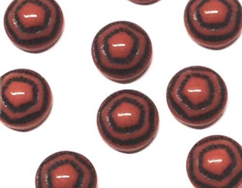 Qty 6 - Rare Vintage 9mm Dk Orange w/Black Pentagons, Flat B