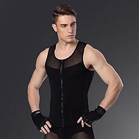 f66e409eff Buy Petsdelite® Mens Shapewear Slimming Girdle Belly Zipper Vest Male Body  Underwear Shapers Waist Control Gynecomastia Tummy Leotard Corset  Black