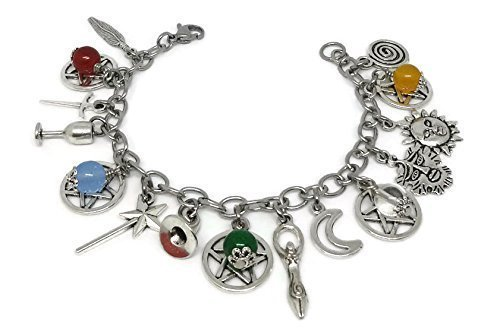 Five Elements Charm Bracelet, Wiccan Jewelry, Feng Shui Bracelet with pentagrams, Water, Fire, Air, Earth, Metal Jewellery