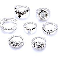 7pcs Vintage Boho Finger Knuckle Ring Band Pearl Midi Rings Stacking Ring Gift ERAWAN (Silver)