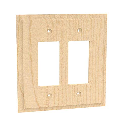 - Designs of Distinction Wood Switch Cover - Double Rocker Switch - Unfinished/Raw Hardwood - Laser cut & includes installation hardware - 01451003-1 (Alder)