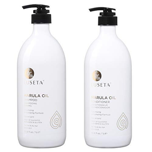 Luseta Marula Oil Hydrating Hair Shampoo and Conditioner Duo Set - Salon Quality Shampoo that Cleanses, Protects, Nourishes and Conditions, Sulfate-free, 2 x 33.8 Oz