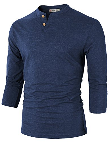 H2H Mens Comfortable Slim Fit Henley 3/4 Sleeve T-Shirts Blue US XXL/Asia 3XL (CMTTS0194) (3/4 Shirt Sport Long Sleeve Sleeve)