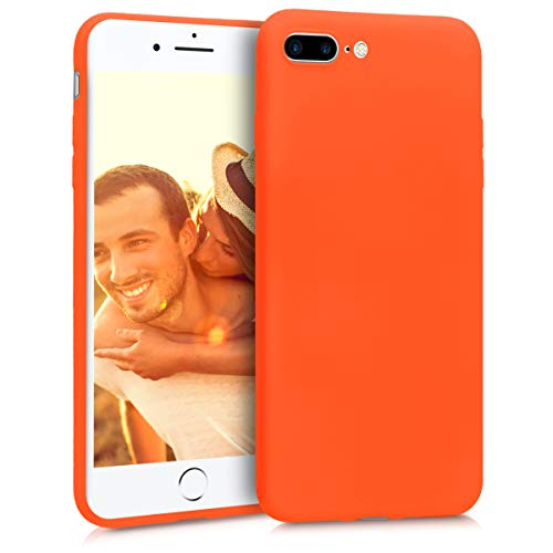 (kwmobile TPU Silicone Case Compatible with Apple iPhone 7 Plus / 8 Plus - Soft Flexible Shock Absorbent Protective Phone Cover - Neon Orange)
