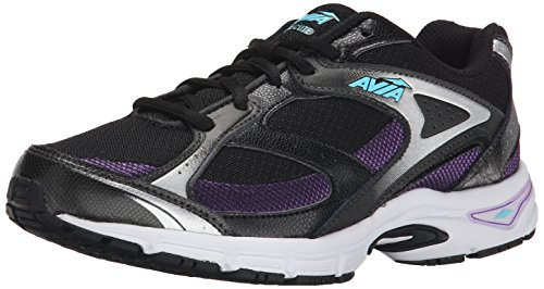 AVIA Women's Execute Running Shoe, Black/Majestic Purple/Winter Blue, 8 M US (Mascot Uniforms)