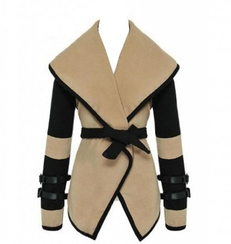 WIIPU Womens Turn-down Collar Big Lapel Belted Jacket Coat Outwear Tops(J319)