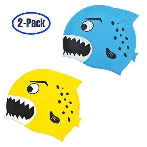 hovillage Kids Swimキャップ、2パック、楽しいシリコン幼児用Swim Cap for Boys and Girls kid   B07D57GNGM