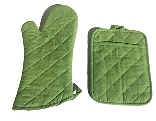 - Plum Nellie's Treasures 2pc Set Quilted Oven Mitt & Pocket Potholders Set Colorful Kitchen Collection (Lime Green)