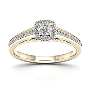 De Couer 10K Yellow Gold 3/8ct TDW Diamond Halo Engagement Ring (H-I, I2)