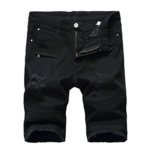 Kool Classic Mens Ripped Destroyed Distressed Jeans Denim Shorts Ripped-black W30 by Kool Classic