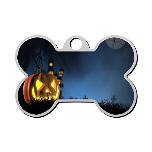 GPZHM Customized Halloween Pet Tag - Bone Shaped Dog Tag & Cat Tags Pet ID Tag Personalized Custom Your Pet's Name & Number 3D Printing]()