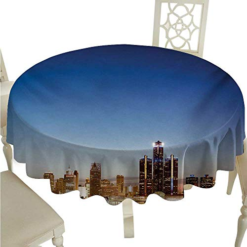 cordiall Detroit Elegance Engineered Christmas Tablecloth Michigan Skyline at Twilight Waterfront Lively City Serene Calm Travel Destination Indoor Outdoor Camping Picnic D54 Multicolor