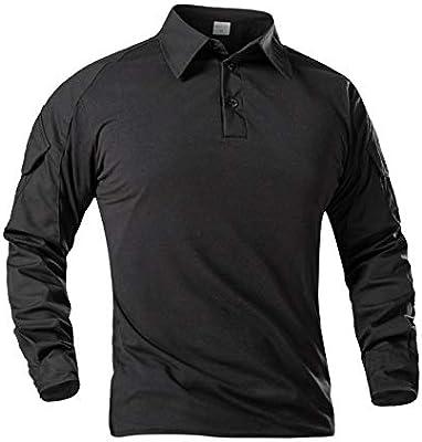 LHHMZ Camisa de Manga Larga Negra Militar para Hombre Camo de Combate Camisas de Senderismo para Casual y al Aire Libre: Amazon.es: Deportes y aire libre