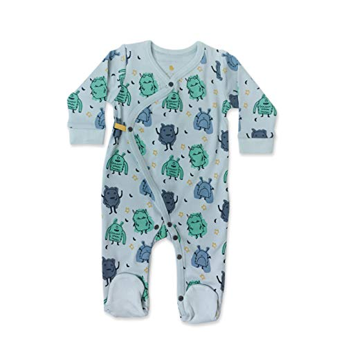 Finn + Emma Organic Cotton Footie for Baby Boy or Girl - Monsters, 3-6 Months