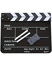 Coolbuy112 Movie Directors Clapboard, Photography Studio Video TV Acrylic Clapper Board Dry Erase Film Slate Cut Action Scene Clapper with a Magnetic Blackboard Eraser and Two Custom Pens, Black