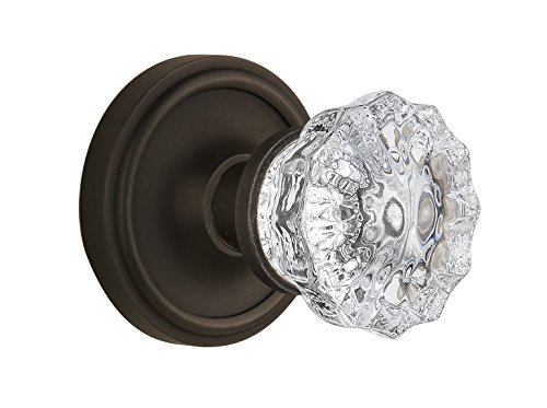 Nostalgic Warehouse BN22-CLACRY-OB Classic Rosette with Crystal Double Dummy Knob, Oil Rubbed Bronze