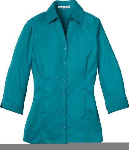 Port Authority - Ladies 3/4 Sleeve Blouse. L6290 - Teal Green - Medium