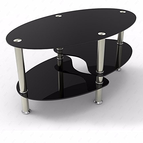 OFFICE MORE Glass Oval Side Coffee Table Shelf Chrome Base Living Room Furniture Black (Black Oval Cocktail Table)