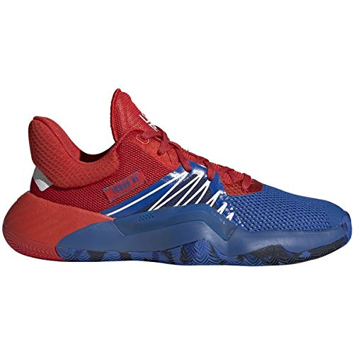 adidas Boy's D.O.N. Issue #1 Basketball Shoe, Blue/Red/White, 4 Medium US Big Kid