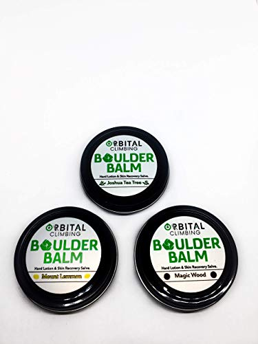 Boulder Balm: Hard Lotion Skin Recovery Salve 3 Pack! (Joshua Tea Tree, Mount Lemmon, Magic Wood Scent) by Orbital Climbing