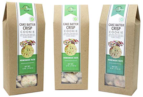 Simply Sweet Bakeshop Cake Batter Crisps Bite Size Cookies, 6 Ounces, 3-Pack (18 Ounce Total)