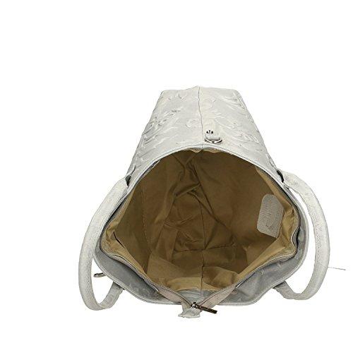 en Chicca 35x28x11 fabriqué cuir en à Gris main véritable Italie Cm Borse Sac Femme YqPX8Y