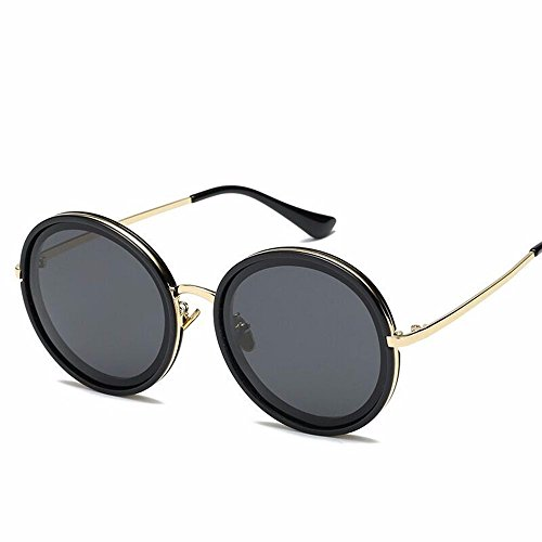sol Sol Polvo de Gafas Redondeado Calle de de en Gafas negro en la Solar Polvo Protector Gran Cerezo negro Sol de Gafas Marco gris Liuxc wZnqXEt
