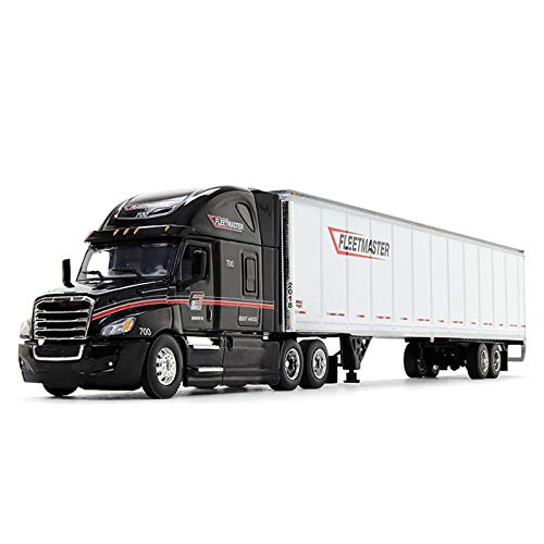 Freightliner Cascadia High Roof Sleeper Cab with 53' Wabash DuraPlate Dry Goods Trailer Fleetmaster Black and White 1/64 Diecast Model by DCP 34234 (Die Cast Promotions 1 64 Scale Trucks)