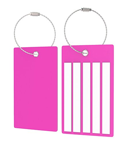 Suitcase Luggage Tags, Durable Baggage Labels (2 Tags, Pink) by Highwind (Image #1)