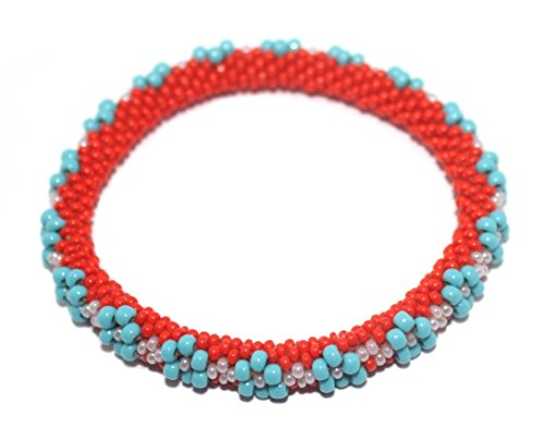 Crochet Glass Seed Bead Bracelet Roll on Bracelet Nepal Bracelet SB210