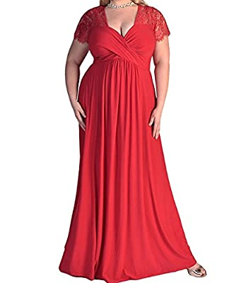 Duraplast Women's Lace Evening Dress Plus Size Maxi Dress Stretch