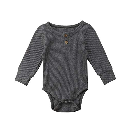 Boutique Clothes For Boys (Newborn Infant Baby Boys Girls Cotton Romper Clothes Solid Bodysuit Jumpsuit One-Piece (Grey, 12-18)