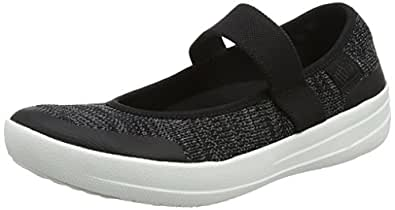 FITFLOP Women's Uberknit Mary Jane Black/Soft Grey 5 M US