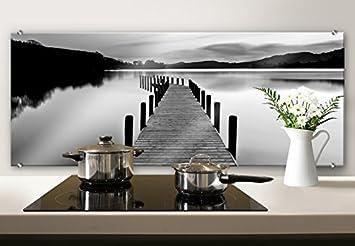 Spritzschutz Glasbild - Dmitry -Seepanorama - schwarz/weiß ...