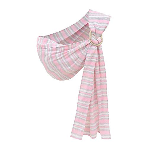Cuby Ring Sling Baby Carrier - Extra Soft Lightweight Cotton Baby Slings for Newborn, Infant and Toddler - Great Gift (Pink Stripe) (Best Baby Sling For Preemies)