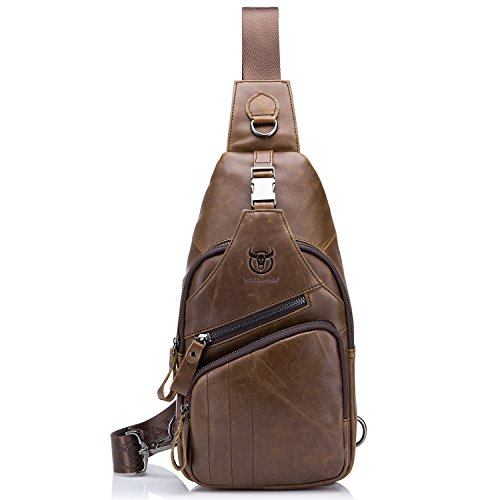 BULL CAPTAIN Shoulder Backpack Casual Cross Body Bag Genuine Leather Ipad Mini Pack Travel Sling Bag XB-105 (Brown, - Sunglasses Sale Ok