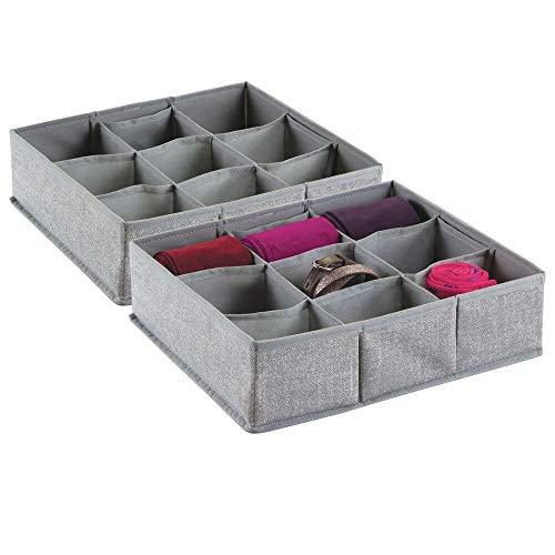 mDesign Soft Fabric Dresser Drawer and Closet Storage Organizer Bin for Lingerie, Bras, Socks, Nylons, Ties, Belts, Tank Tops, Small Accessories - Divided 9 Section Tray, Textured Print, 2 Pack - Gray